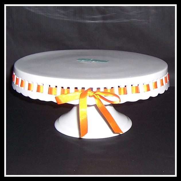 White Pedestal Cake Stand Ribbon
