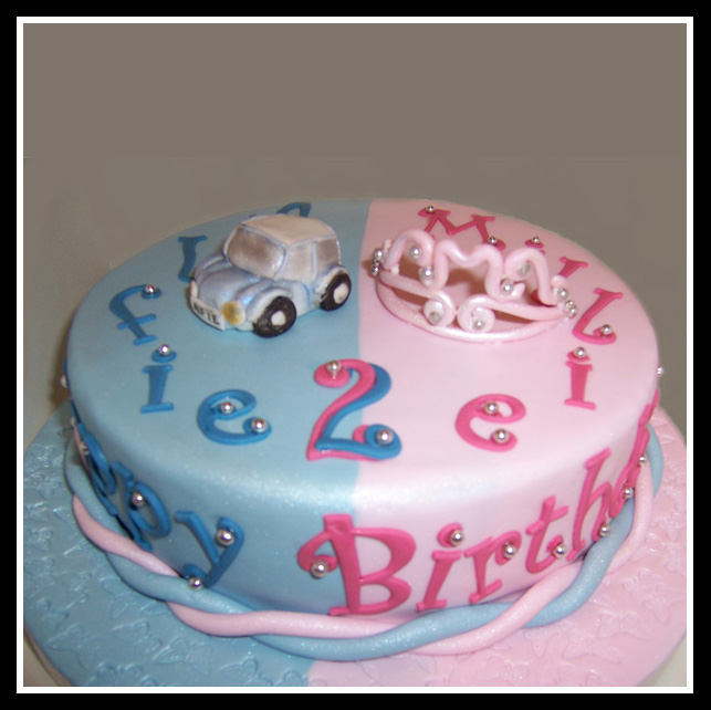 Twins Birthday Cake Image